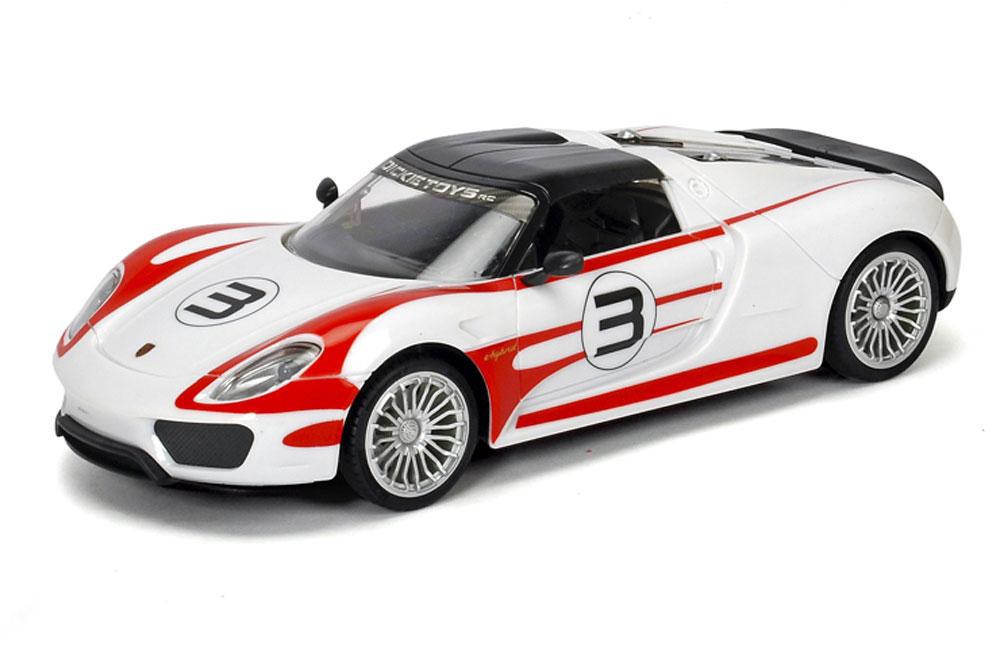 Porsche 918 Spyder- это гибридный автомобиль с гоночными генами. Разгон до 100 км/ч за 2,5 сек. Максимальная скорость 345 км/ч. Dickie решила порадовать детей и их родителей создав игрушечную копию на радиоуправлении. Игрушка создавалась в тесном сотрудничестве с компанией Porche. В машинке записан оригинальный звук мотора Porsche 918 Spyder. Кроме этого были установлены шины Michelin как и у оригинала. Машинка работает от батареек, которые входят в комплект. Полный набор функций вождения, диски с подсветкой, звук,2-х канальное управление, скорость до 10 км / ч. Полоса частот: 2405 - 2475МГц, Мощность: не более 10 мВт.