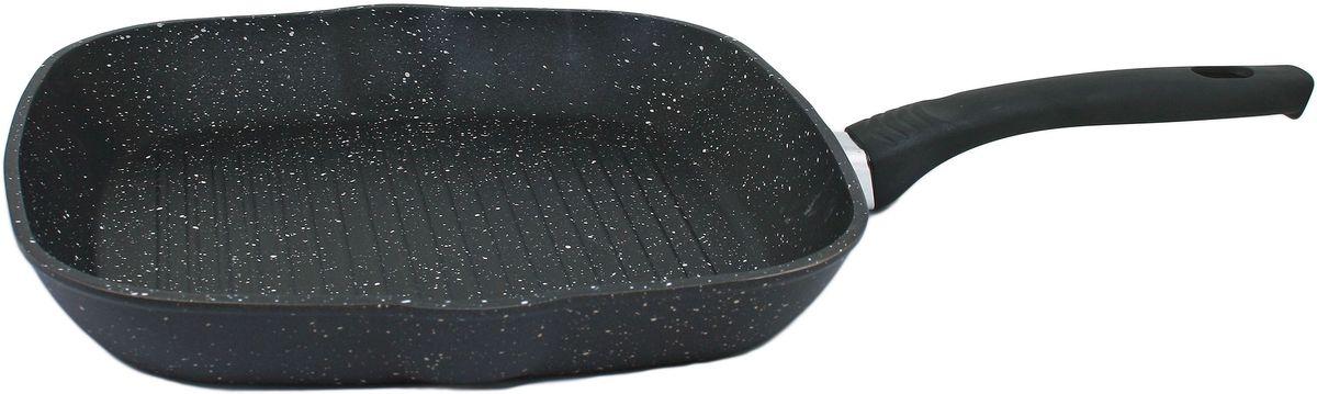 Сковорода-гриль Casta Megapolis, с антипригарным покрытием, 26 х 26 см. СЗ2626-ГРКСЗ2626-ГРКСковорода-гриль Casta Megapolis предназначена для здорового и экологичного приготовления пищи. Корпус изделия изготовлен из литого алюминия с трехслойным внутренним антипригарнымпокрытием Greblon Stonehenge. Покрытие упрочненное керамическими частицами, имеет отличные антипригарные свойства, не содержит вредных веществ в том числе PFOA, свинца, кадмия. Пища не пригорает и не прилипает к стенкам. Рифленая внутренняя поверхность образует аппетитную корочку. Такая сковорода замечательно подойдет для приготовления жаренных и тушеных блюд, а также прекрасно подходит для приготовления как стейков, так и овощей.Внешнее декоративное покрытие Greblon Decor имеет высокую устойчивость к термическому воздействию.Термостойкая рукоятка специального дизайна, выполненная из бакелита, удобна икомфортна в эксплуатации.Допускается использование металлических предметов для перемешивания пищи.Подходит для всех плит, кроме индукционных.