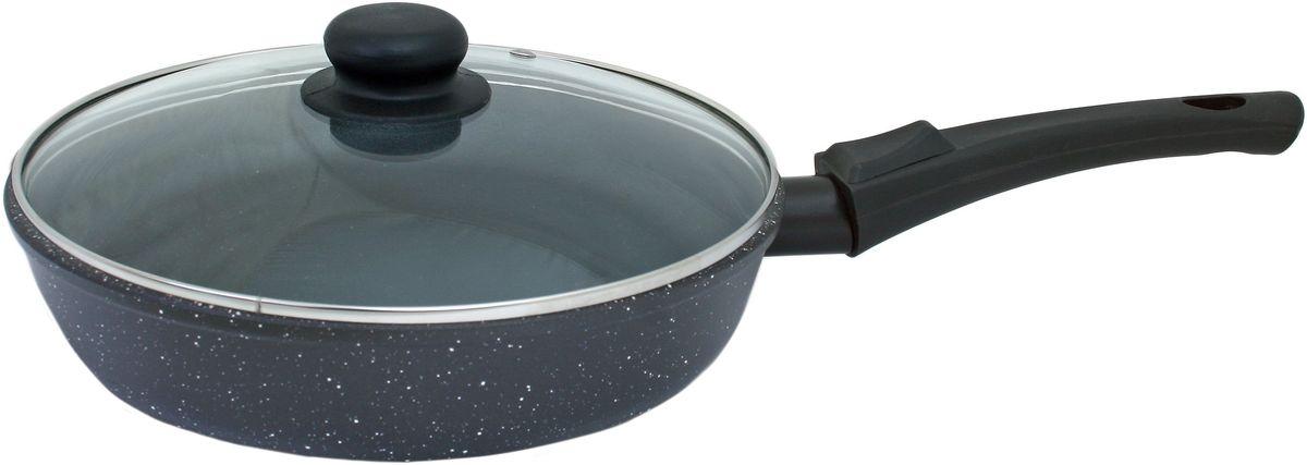Сковорода Casta Megapolis с крышкой, с антипригарным покрытием, со съемной ручкой, цвет: черный, белый. Диаметр 28 см. МР28 - СР/КР