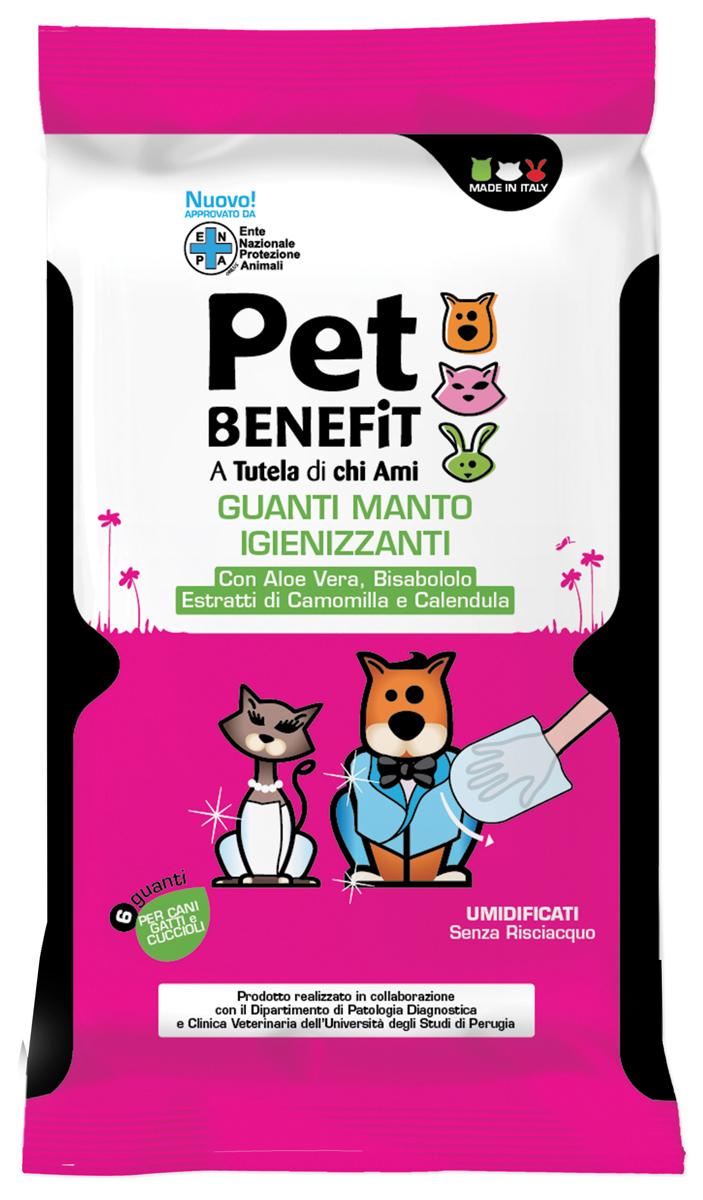 Очищающие влажные перчатки Pet Benfit, для ухода за шерстью, 6 шт0120710Одноразовые перчатки, пропитанные чистящим веществом для очистки шерсти собак и кошек. 6 штук в упаковке