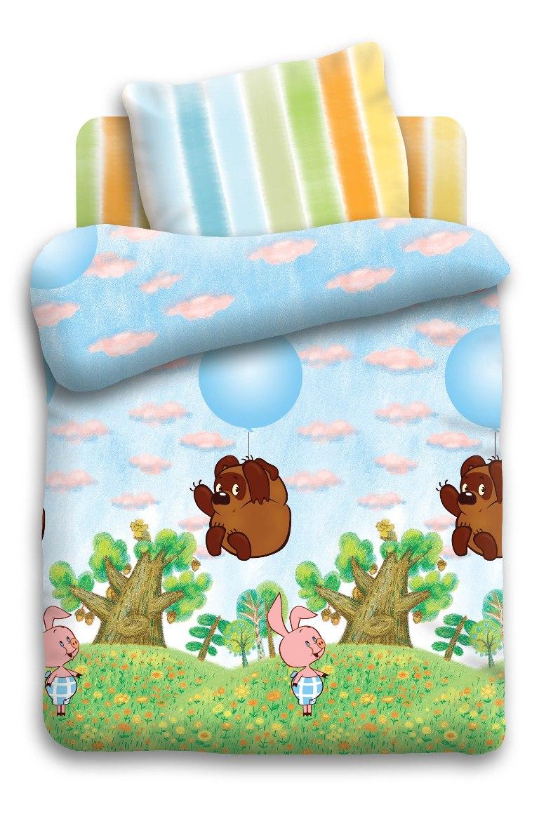 Союзмультфильм Комплект белья для новорожденных Винни Пух на шарике5288-1Комплект белья для новорожденных Винни Пух на шарике - изготовлен из качественной бязи. Красивое детское постельное белье помогает детям заснуть: они с удовольствием ложатся в кроватку и просыпаются в хорошем настроении. Этому способствуют и замечательные характеристики бязи: гипоаллергенность, отличный влаго- и теплообмен.