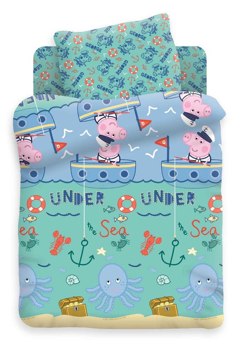 Свинка Пеппа Комплект белья для новорожденных Джордж рыбак362269Комплект белья для новорожденных Джордж рыбак - изготовлен из нежного хлопка. Красивое детское постельное белье помогает детям заснуть: они с удовольствием ложатся в кроватку и просыпаются в хорошем настроении. Этому способствуют и замечательные характеристики хлопка: гипоаллергенность, отличный влаго- и теплообмен.