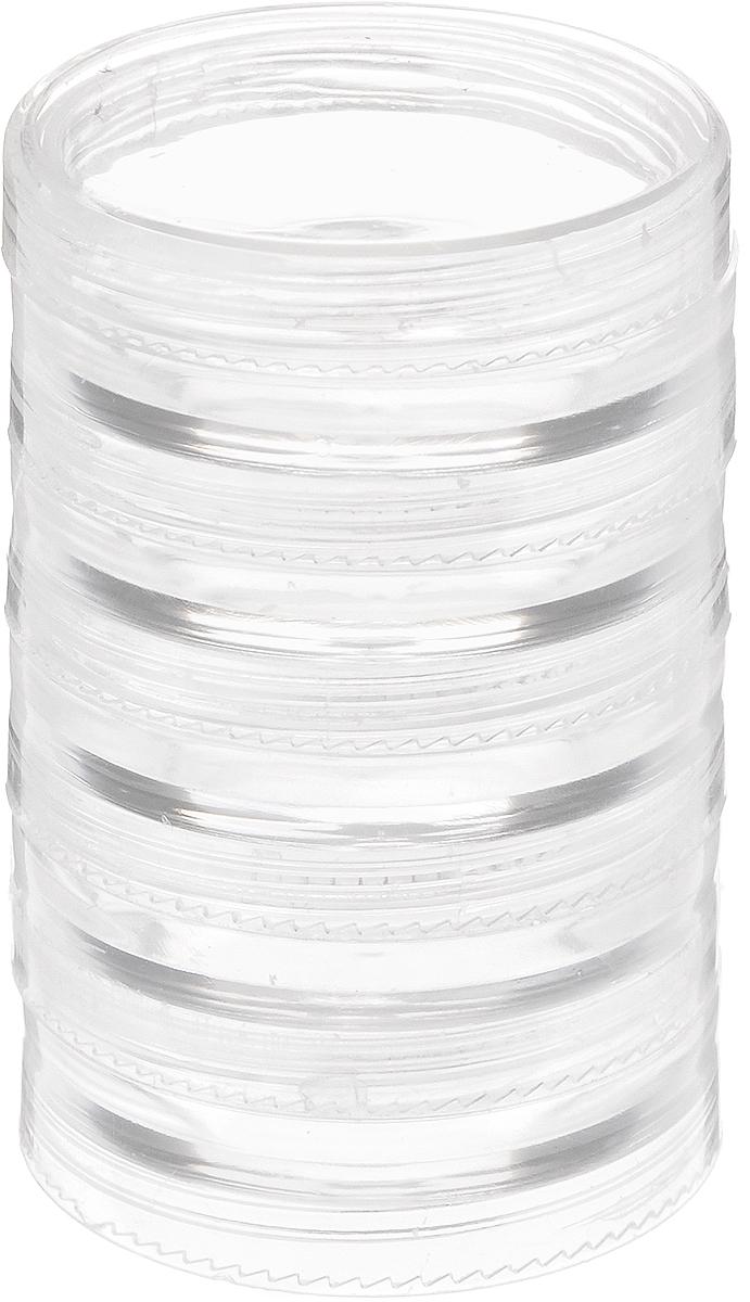 Контейнер для бисера РТО, 5 секций, диаметр 5 смRG-D31SКоробка для бисера, изготовленная из прозрачного пластика. В ней можно хранить мелкие предметы для рукоделия, например, бисер, блестки, стразы или пайетки. Изделие плотно закрывает прозрачной крышкой. Такая коробка поможет держать вещи в порядке.