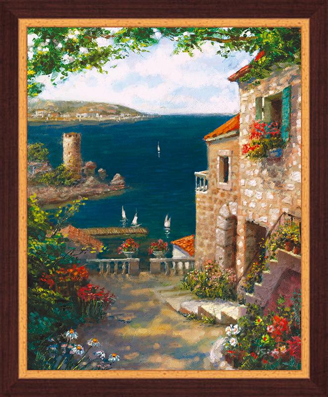 Картина Postermarket Средиземноморский пейзаж, 40 х 50 см41623Картина Postermarket Средиземноморский пейзаж прекрасно подойдет для декора интерьера различных помещений. Постер, выполненный в технике фотопечать, оформлен багетом коричневого цвета. Картина для интерьера (постер) - это современное и актуальное направление в дизайне помещений. Ее можно использовать для оформления любых помещений (дом, квартира, офис, бар, кафе, ресторан или гостиница). работоспособность. Правильное оформление интерьера создает благоприятный психологический климат, улучшает настроение и мотивирует.Размер картины: 400 x 500 мм.