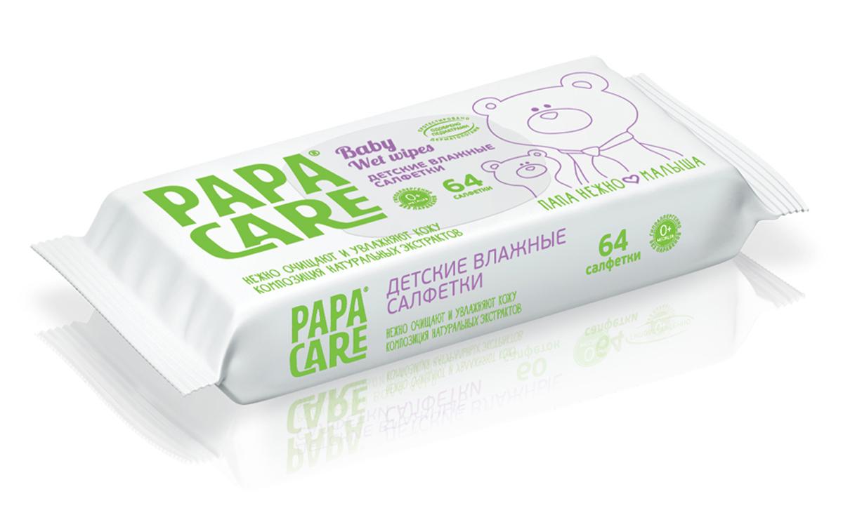 Papa Care Детские влажные салфетки 64 шт227Обладают противовоспалительными и антибактериальными свойствами. Оказывают увлажняющее и смягчающее действие на кожу малыша. В состав увлажняющего лосьона входят натуральные экстракты ромашки и алоэ вера которые оказывают противовоспалительное действие, мягко очищая и защищая малыша от бактерий.Нейтральный уровень pH. Не содержат парабенов, красителей, аллергенных отдушек. Не содержат спирта.Товар сертифицирован.