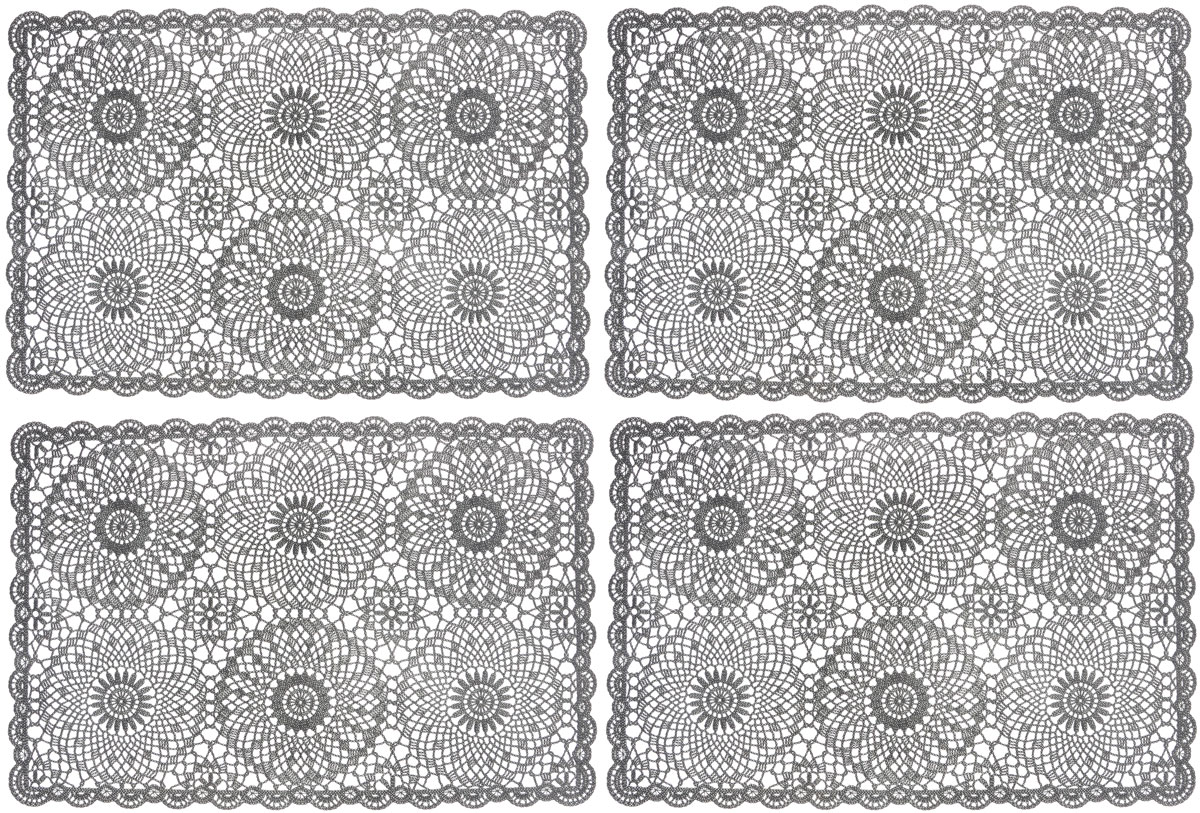 Набор сервировочных салфеток GiftnHome, цвет: темно-серый, 45,5 х 30,5 см, 4 шт115510Набор GiftnHome, изготовленный из винила, состоит из четырех ажурных салфеток. Такие салфетки - это отличная идея для сервировки! Изделия имеют оригинальный дизайн. Салфетки защищают поверхность стола от воздействия температур, влаги и загрязнений, а также украшают интерьер. Размер салфетки: 45,5 см х 30,5 см.