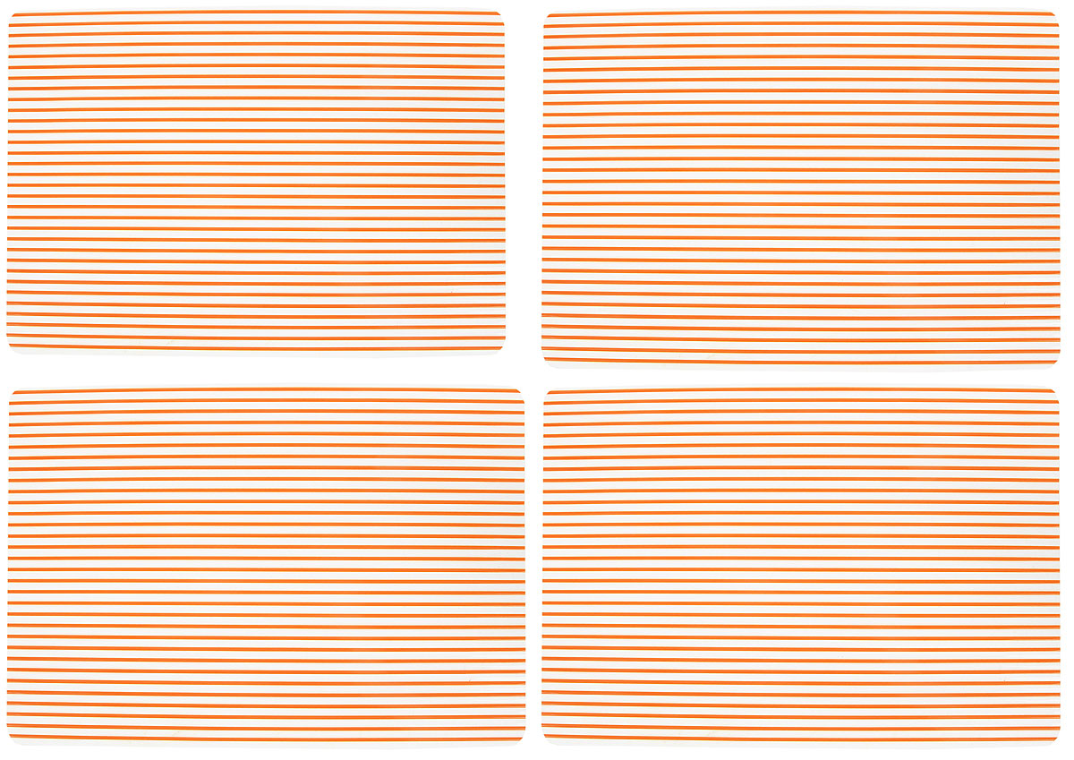 Набор сервировочных термосалфеток GiftnHome, цвет: оранжевый, прозрачный, 46 х 31 см115510Набор GiftnHome, изготовленный из винила, состоит из четырех термосалфеток. Такие салфетки - это отличная идея для сервировки! Салфетки защищают поверхность стола от воздействия температур, влаги и загрязнений, а также украшают интерьер. Размер салфетки: 46 х 31 см.