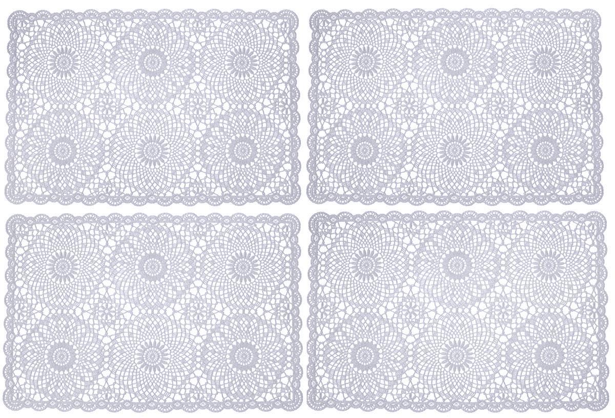 Набор сервировочных салфеток GiftnHome, цвет: серый, 45,5 х 30,5 см, 4 шт115510Набор GiftnHome, изготовленный из винила, состоит из четырех ажурных салфеток. Такие салфетки - это отличная идея для сервировки! Изделия имеют оригинальный дизайн. Салфетки защищают поверхность стола от воздействия температур, влаги и загрязнений, а также украшают интерьер. Размер салфетки: 45,5 см х 30,5 см.