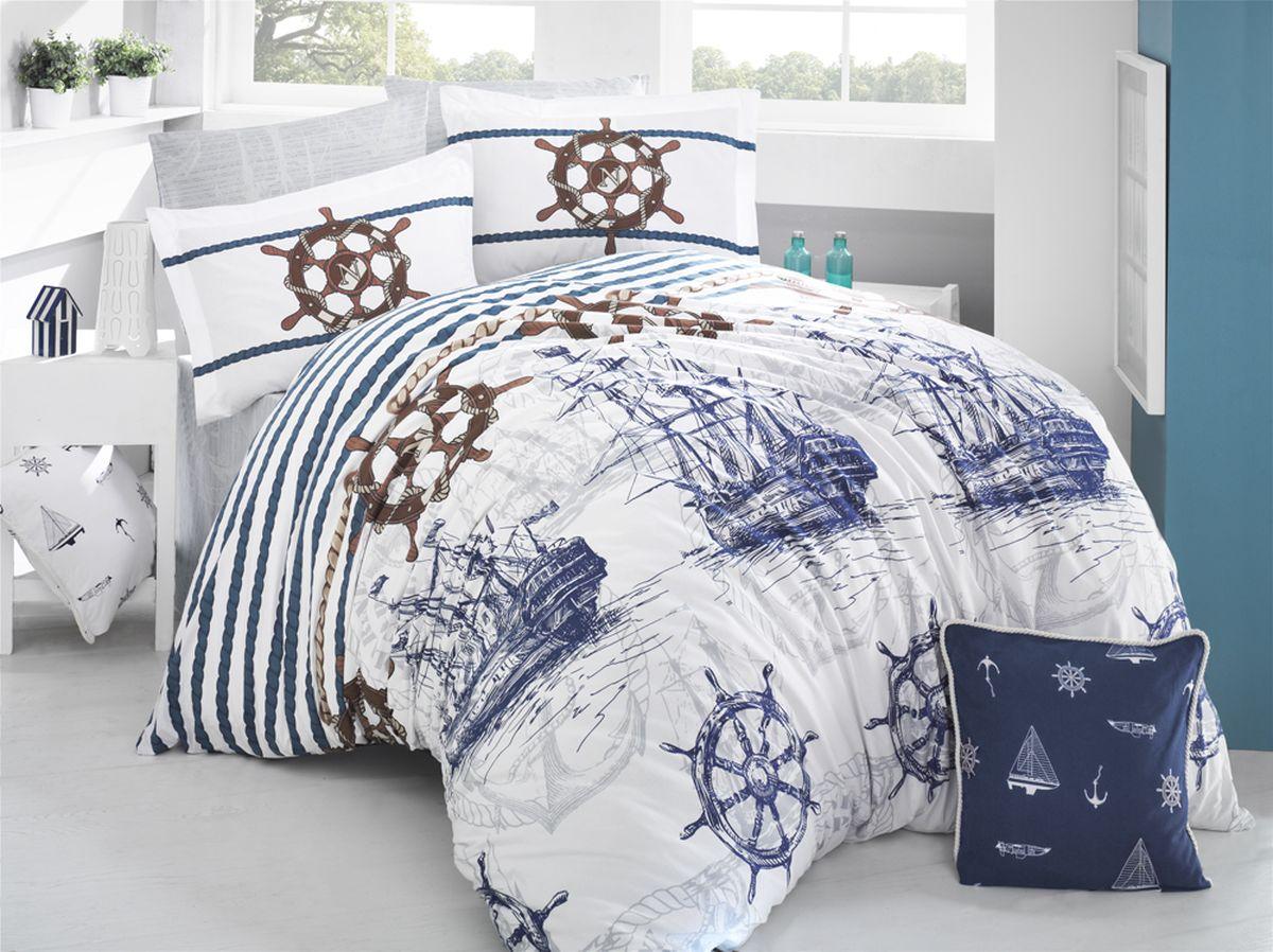 Комплект белья Clasy Marine, евро, наволочки 50х70, цвет: белый, синий30.07.26.0015_бежевыйКомплект постельного белья Clasy Marine изготовлен в Турции из высококачественного ранфорсана одной из ведущих фабрик.Выбирая постельное белье Clasy Marine вы будете приятно удивлены качественной выделкой ткани, красивыми и модными расцветками, а так же его отличным качеством. Все наволочки у комплектов Clasy Marine имеют клапан без пуговиц и молнии. Пододеяльник с пуговицами.