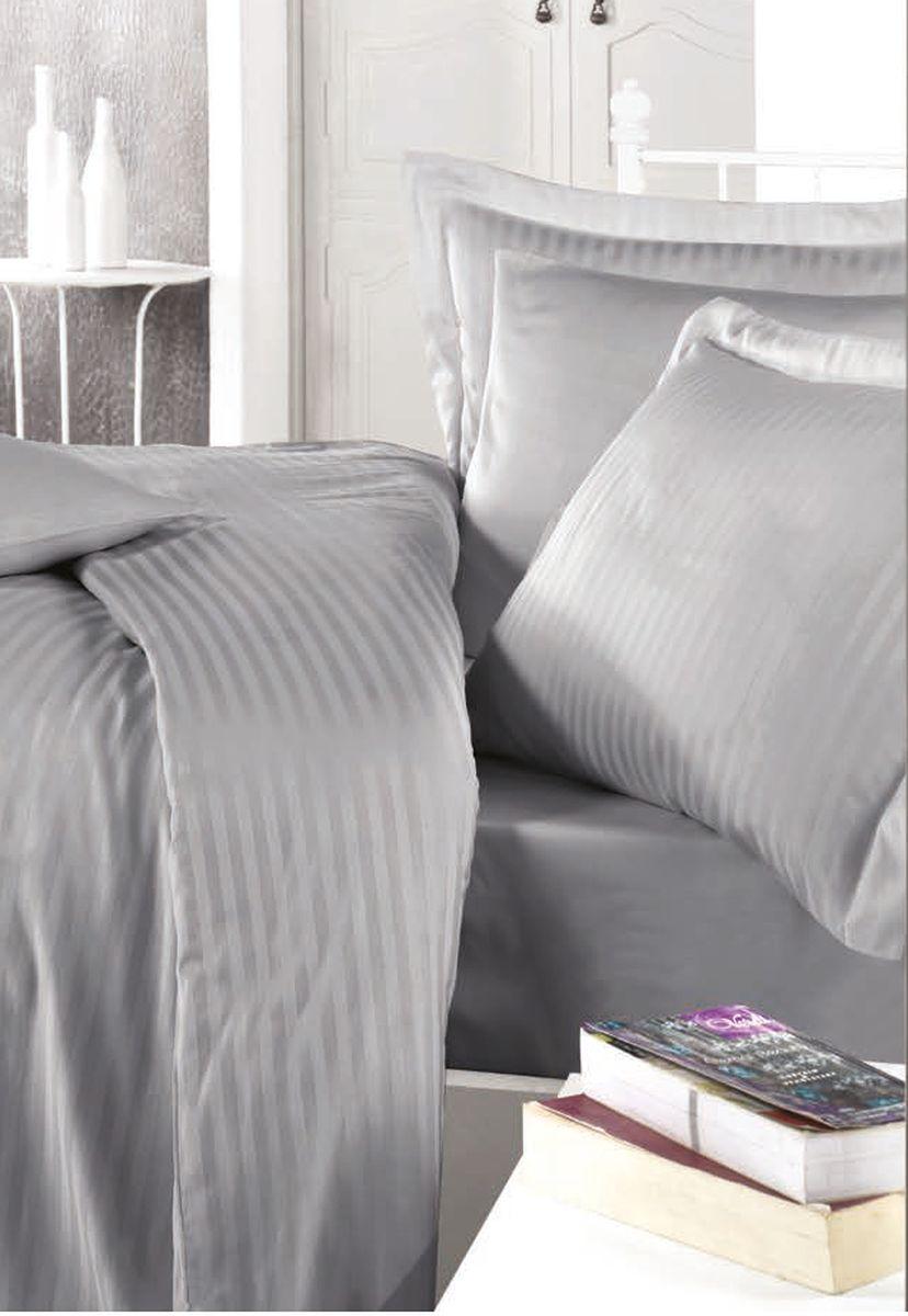 Комплект белья Clasy Stripe Satin, евро, наволочки 50х70, цвет: серый. 5238RC-100BWCТовары под брендом Clasy изготовлены в Турции из высококачественного хлопка на одной из ведущих фабрик. Все изделия упакованы в подарочные картонные коробки, к которым прилагается фирменный пакет с логотипом.