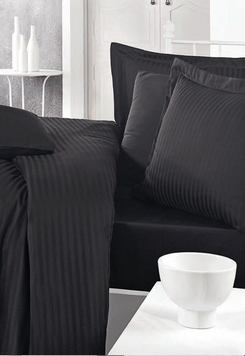 Комплект белья Clasy Stripe Satin, евро, наволочки 50х70, цвет: черный. 5241391602Товары под брендом Clasy изготовлены в Турции из высококачественного хлопка на одной из ведущих фабрик. Все изделия упакованы в подарочные картонные коробки, к которым прилагается фирменный пакет с логотипом.