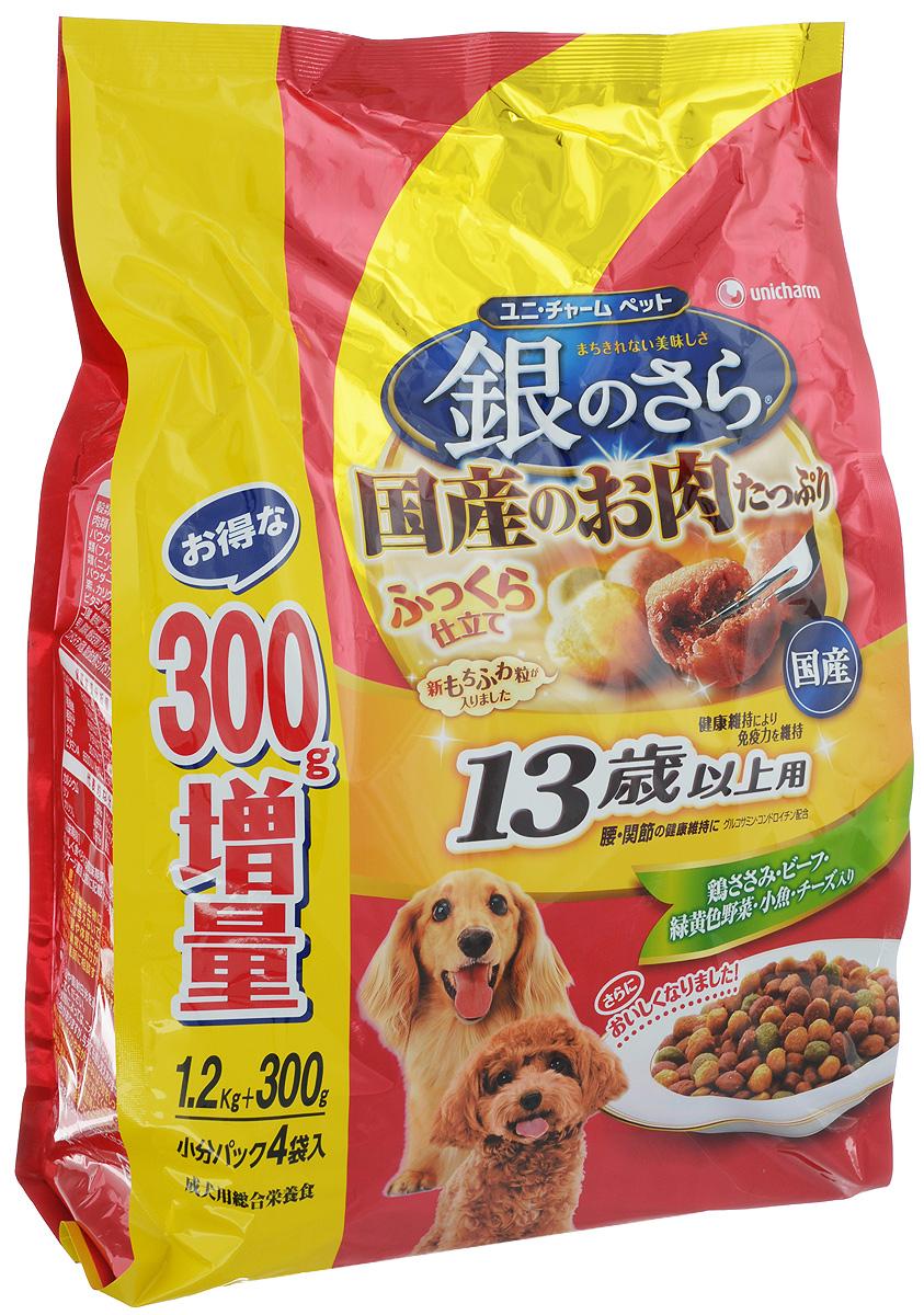 Корм мягкий Unicharm Silver Plate, для собак старше 13 лет, с курицей, говядиной, рыбой, овощами и сыром, 1,2 кг0120710Сбалансированный корм для собак старше 13 лет Unicharm Silver Plate обладает неповторимым вкусом курицы, говядины, рыбы, овощей и сыра. Прекрасно удовлетворяет потребности пожилой собаки в питательных веществах, микроэлементах и минералах. Особая рецептура продукта помогает собаке оставаться в хорошей физической форме. Эксклюзивная формула, содержащая кальций, фосфор, глюкозамин и хондроитин, поддерживает здоровье когтей, хрящей и тазобедренных суставов, что немаловажно для опорно-двигательного аппарата пожилой собаки. Витамины группы В, витамины С и Е в сочетании с белком укрепляют иммунитет и помогают противостоять инфекциям. Пониженное содержание жира облегчает нагрузку на печень и почки. Корм легко усваивается, содержит пищевые волокна для улучшения пищеварения. В состав корма входят полезные вещества и микроэлементы, в том числе Омега-6 и Омега-3, необходимые для поддержания здорового состояния кожи и шерсти вашего питомца. За счёт того, что гранулы корма нетвёрдые, их смогут легко прожевать собаки преклонного возраста со слабыми зубами.Товар сертифицирован.