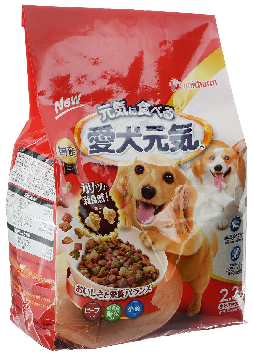 Корм сухой Unicharm Aiken Genki, для собак, с говядиной, овощами и мелкой рыбой, 2,3 кг0120710Сбалансированный сухой корм для собак Unicharm Aiken Genki со вкусом говядины, овощей и рыбы обеспечивает полнорационное питание вашему любимцу. Корм изготовлен из ингредиентов высокого качества, отличается гармоничным сочетанием питательных веществ и микроэлементов, содержит белок и кальций, необходимые на всех стадиях роста собаки. Благодаря особой рецептуре продукт легко усваивается, позволяя питомцу получить витамины и минералы, а также фосфор, играющие важную роль в поддерживании здоровья костей и зубов собаки. В состав корма входят пищевые волокна, которые нормализуют работу кишечника и способствуют улучшению пищеварения.Товар сертифицирован.