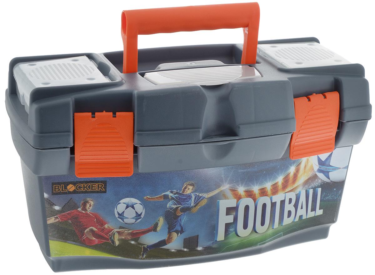 Ящик для инструментов Blocker Master Football, 40 х 21 х 23 см1004900000360Ящик Blocker Master Football выполнен из прочного пластика и предназначен для хранения инструментов. Изделие оснащено ручкой для удобной переноски. В комплект входит съемный лоток с ручкой для инструментов. Крышка оснащена двумя органайзерами и отделением для хранения бит. Лоток оснащен линейкой. Крышка плотно закрывается на две защелки. Ящик для инструментов Blocker Master Ice Hockey позволит хранить инструменты в одном месте. Размер ящика: 40 х 21 х 23 см. Размер лотка: 39 х 18 х 8 см. Размер органайзера: 10 х 8,5 х 2,5 см. Размер отделения для бит: 13 х 5,5 см.