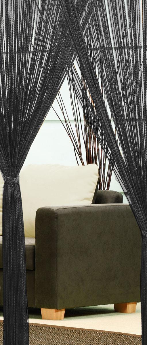 Гардина-лапша Haft, на кулиске, цвет: черный, высота 250 см. 46990S03301004Легкая гардина-лапша на кулиске Haft, изготовленная из полиэстера, станетвеликолепным украшением любого окна. Оригинальный дизайн и приятнаяцветовая гамма привлекут к себе внимание и органично впишутся в интерьеркомнаты.К изделию прилагается удобный мешок для стирки на стяжке.