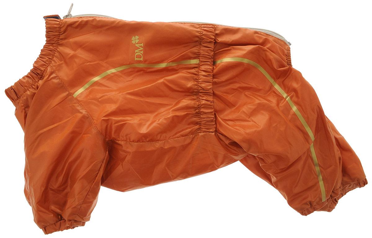Комбинезон для собак Dogmoda Альпы, для девочки, цвет: оранжевый, золотой. Размер 4 (XL). DM-150326DM-150326-4_оранжевыйКомбинезон для собак Dogmoda Альпы отлично подойдет для прогулок поздней осенью или ранней весной.Комбинезон изготовлен из полиэстера, защищающего от ветра и осадков, с подкладкой из флиса, которая сохранит тепло и обеспечит отличный воздухообмен. Комбинезон застегивается на молнию и липучку, благодаря чему его легко надевать и снимать. Ворот, низ рукавов и брючин оснащены внутренними резинками, которые мягко обхватывают шею и лапки, не позволяя просачиваться холодному воздуху. На пояснице имеется внутренняя резинка. Изделие декорировано золотистыми полосками и надписью DM.Благодаря такому комбинезону простуда не грозит вашему питомцу и он не даст любимцу продрогнуть на прогулке.Длина спины: 34 см.Ширина спины: 20 см.