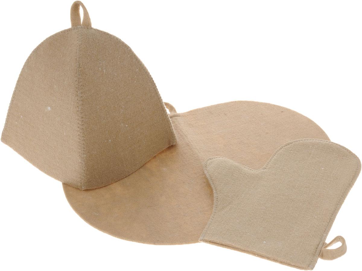 Набор для бани и сауны Главбаня, цвет: бежевый, 3 предметаRSP-202SОригинальный набор для бани Главбаня включает в себя шапку, коврик и рукавицу. Изделия выполнены из войлока (полиэстер), предметы комплекта обладают великолепными гигроскопичными свойствами и защищают от высоких температур в парной. Оригинальный дизайн изделий добавит эстетики банным процедурам. Такой набор поможет с удовольствием и пользой провести время в бане, а также станет чудесным подарком друзьям и знакомым, которые по достоинству его оценят при первом же использовании.Рекомендуется стирка при температуре.Размер коврика: 44 х 33 см. Обхват головы: 62 см. Размер рукавицы: 29 х 23 см.