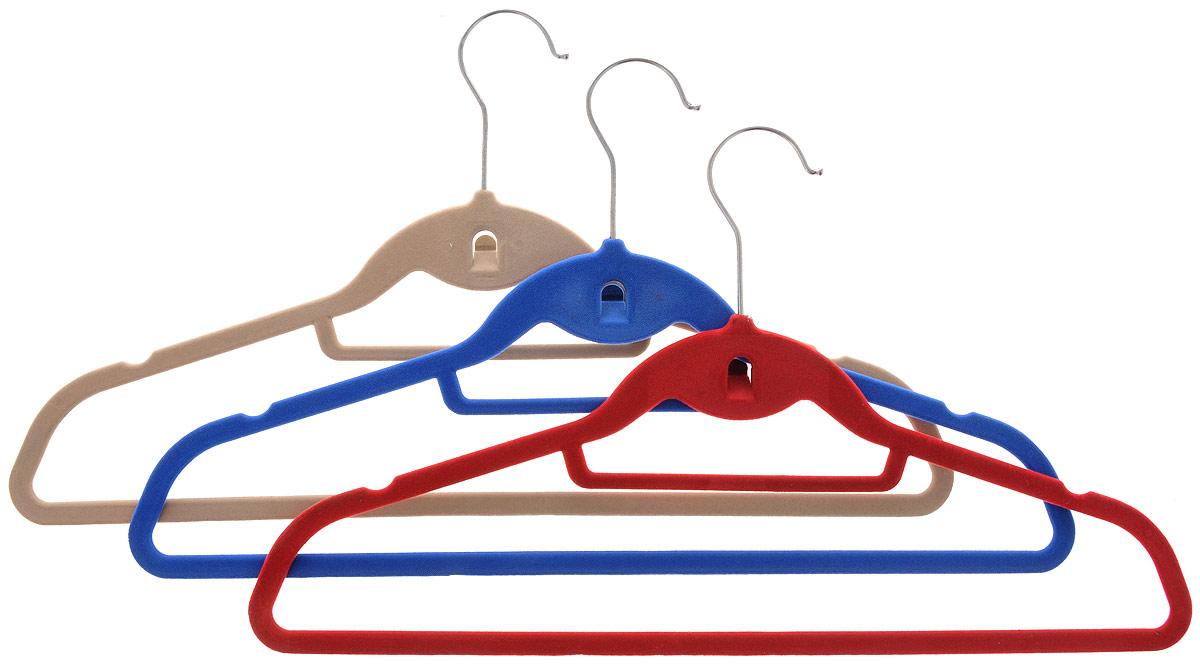 Набор вешалок для одежды Miolla, цвет: бежевый, синий, красный, 3 штБрелок для ключейНабор Miolla состоит из 3 разноцветных вешалок, изготовленных из нейлона с текстильным покрытием. Изделия оснащены большой перекладиной, малой перекладиной для галстука, боковыми крючками и дополнительным крючком. Вешалка - это незаменимая вещь для того, чтобы ваша одежда всегда оставалась в хорошем состоянии. Комплектация: 3 шт.Длина вешалки: 45 см.