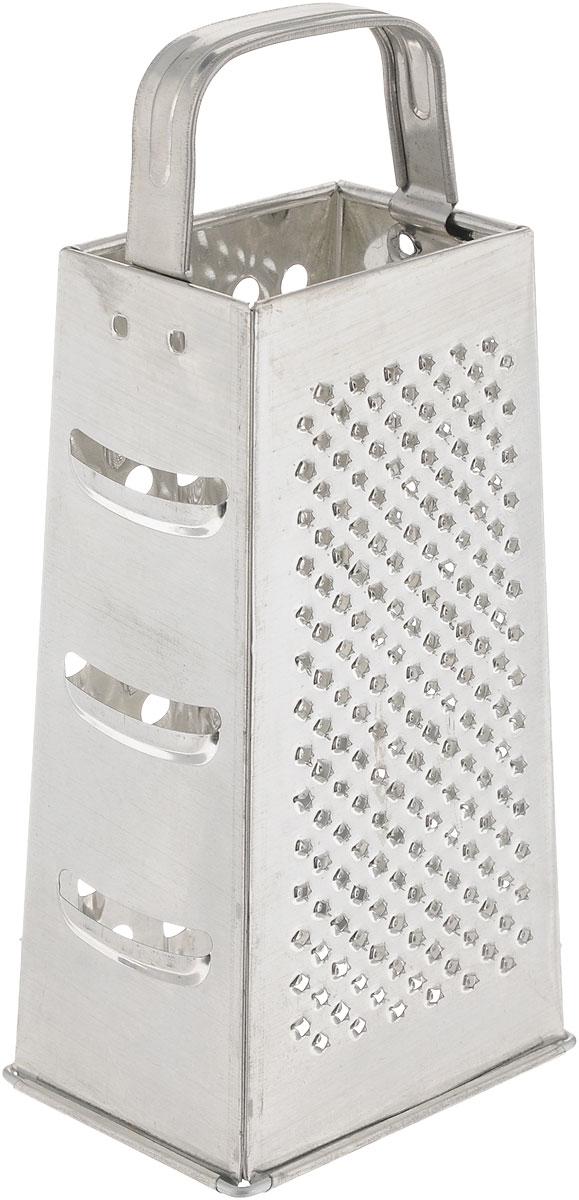 Терка Axentia, высота 24 см68/5/3Четырехгранная терка Axentia, выполненная из высококачественной нержавеющей стали с зеркальной полировкой, станет незаменимым атрибутом приготовления пищи. Терка оснащена удобной ручкой. На одном изделии представлены четыре вида терок - крупная, мелкая, фигурная и нарезка ломтиками. Современный стильный дизайн позволит терке занять достойное место на вашей кухне. Высота терки: 24 см.Размер основания терки: 10,5 х 8 см.