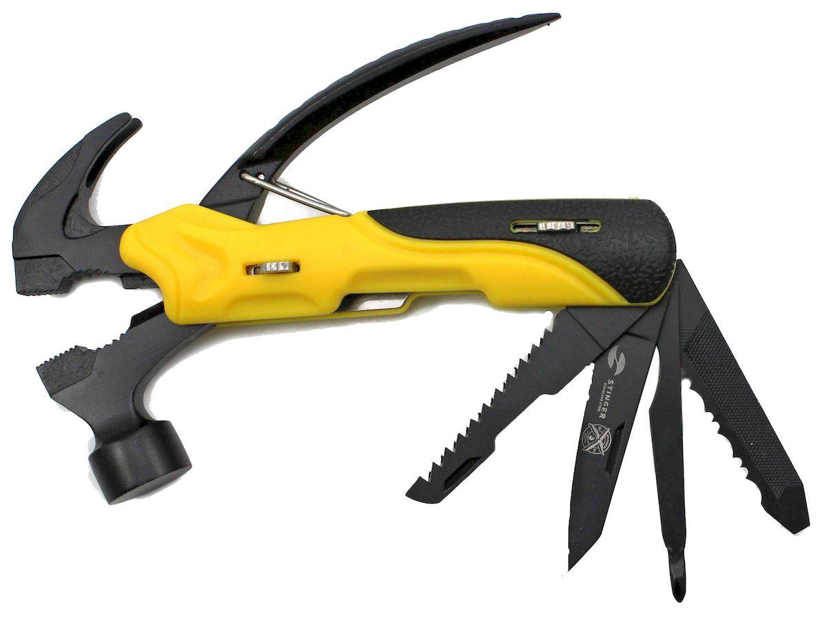 Мультитул Stinger, 9 инструментов, цвет: желтый, черный. MT-22BC-HMT-22BC-HМультитулы Stinger включают в себя большинство инструментов, которые могут понадобиться при работе руками — мелком ручном ремонте, поделочных работах. Когда в дороге нужно что-нибудь починить или есть вероятность,что это придется делать, мультитул становится незаменимым. Материал инструментов - нержавеющая сталь.Материал рукоятки - нержавеющая сталь, пластик.Размер в открытом виде - 20,5 см.Размер в закрытом виде - 13,5 см.Количество функций - 9:- плоскогубцы;- нож плоский большой;- напильник по дереву и металлу;- пила по дереву и металлу;- отвертка крестовая;- отвертка шлицевая;- клещи;- молоток;- пила.