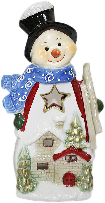 Подсвечник Lillo, цвет: красный, белый, синий, высота 24 см. 20111208FS-80299Подсвечник Lillo, выполненный из керамики, украсит интерьер вашего дома или офиса. Оригинальный дизайн и красочное исполнение создадут праздничное настроение. Подсвечник выполнен в форме снеговика.Вы можете поставить подсвечник в любом месте, где он будет удачно смотреться, и радовать глаз. Кроме того - это отличный вариант подарка для ваших близких и друзей в преддверии Нового года.