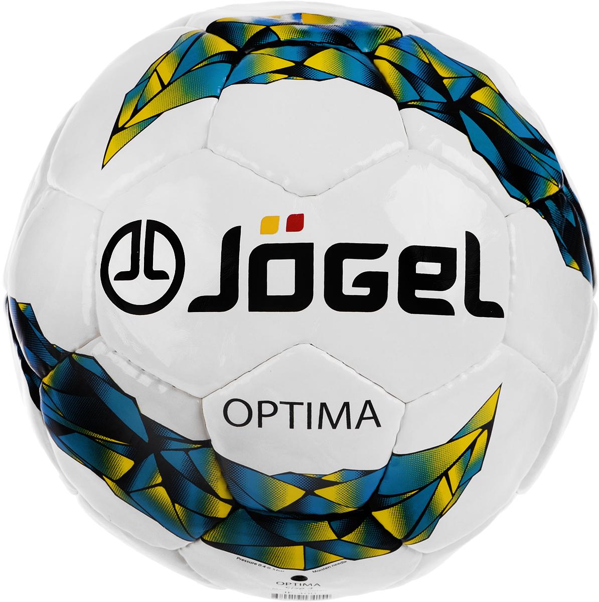 Мяч футзальный Jogel Optima, цвет: белый, лазурный, желтый. Размер 4. JF-400200170Jogel Optima, оправдывая свое название, является оптимальным тренировочным футзальным мячом ручной сшивки из. Его отличительной особенностью является достойное соотношение технических характеристик и доступной цены. Данный мяч рекомендован для тренировок и тренировочных игр клубных и любительских команд. Поверхность мяча выполнена из износостойкой синтетической кожи (полиуретан) толщиной 1 мм. Мяч имеет 4 подкладочных слоя на нетканой основе (смесь хлопка с полиэстером) и оснащен бутиловой камерой со специальным наполнителем, обеспечивающим рекомендованный FIFA низкий отскок.Уникальной особенностью является традиционная конструкция мяча из 30 панелей.Рекомендованные покрытия: паркет, уличные площадки с твердыми ровными поверхностями.Количество подкладочных слоев:4.Количество панелей:30.Вес:400-440 г.Длина окружности: 62-64 см.Рекомендованное давление: 0.6-0.8 бар.УВАЖЕМЫЕ КЛИЕНТЫ!Обращаем ваше внимание на тот факт, что мяч поставляется в сдутом виде. Насос в комплект не входит.