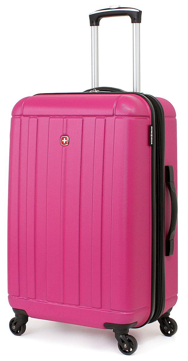 Чемодан SwissGear Uster, цвет: розовый, 62 л. 515456297808167Чемодан 6297808167 SwissGear Uster, розовый, АБС-пластик, 41x26x58 см, 62 лДорожный чемодан USTER прекрасный выбор для путешественников! Чемоданы серии USTER сделаны из АБС-пластика, преимущества которого заключаются в высокой прочности при минимальном весе. Да, этот чемодан действительно легок и станет отличным компаньоном в дороге даже для хрупких, миниатюрных дам! Удобная телескопическая ручка, сделанная из авиационного алюминия, целых четыре маневренных колесика, вращающийся на 360 градусов, и наличие сразу двух ручек (сверху и сбоку) делают этот чемодан поистине эргономичным. Внутренняя эргономика также свидетельствует о благородном швейцарском происхождении. В основном пространстве имеется отделение, с закрывающейся на молнию сетчатой стенкой, а для небольших аксессуаров имеется съемный несессер. Надежно зафиксировать ваши вещи в чемодане помогут внутренние перекрестные ремни с удобным замком. Характеристики: Застежки молнии основного отделения чемодана предусматривают возможность использования навесного багажного замка, благодаря специальным петлям Колесики, способные вращаться вокруг своей оси для маневренности Максимально облегченный и эргономичный Телескопическая ручка из авиационного алюминия Дополнительные ручки: верхняя и боковая ручки Внутренние перекрестные ремни для надежной фиксации содержимого Отделение для небольших аксессуаров на молнии внутри Одна из секций чемодана при необходимости закрывается на молнию, тем самым разделяя основное пространство на две части Объем: 62 л Вес пустого чемодана: 3,62 кг Размер: 41x26x58 см Цвет: Розовый Материал: АБС-пластик