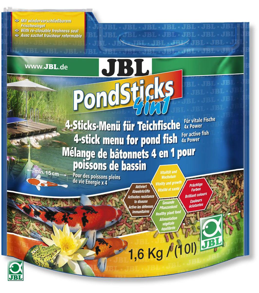 Корм JBL Pond Sticks 4in1 для всех прудовых рыб, в форме палочек, 1,6 кг (10 л)0120710Корм JBL Pond Sticks 4in1 - это комплексное питание для всех прудовых рыб. Корм выполнен в виде палочек разного цвета:- красные - с каратиноидами и креветками для яркого окраса;- желтые - содержат зародыши пшеницы для энергии и роста;- черные - содержат B-глюкан, активирующий иммунитет;- зеленые - растительные, со специальными ингредиентами.Корм подходит для всех прудовых рыб размером от 15 см.Рекомендации по кормлению: при температуре воды 10°С кормить 1-2 раза в день в таком объеме, который может быть съеден в течение 10 минут. Состав: злаки, моллюски и ракообразные, овощи, водоросли, рыба и рыбные побочные продукты. Анализ: белки 25%, жир 4,5%, клетчатка 4%, зола 9%. Содержание витаминов на 1 кг: Витамин А 25000 I.E., Витамин D3 2000 I.E., Витамин Е 300 мг, Витамин C (стабильный) 200 мг. Товар сертифицирован.