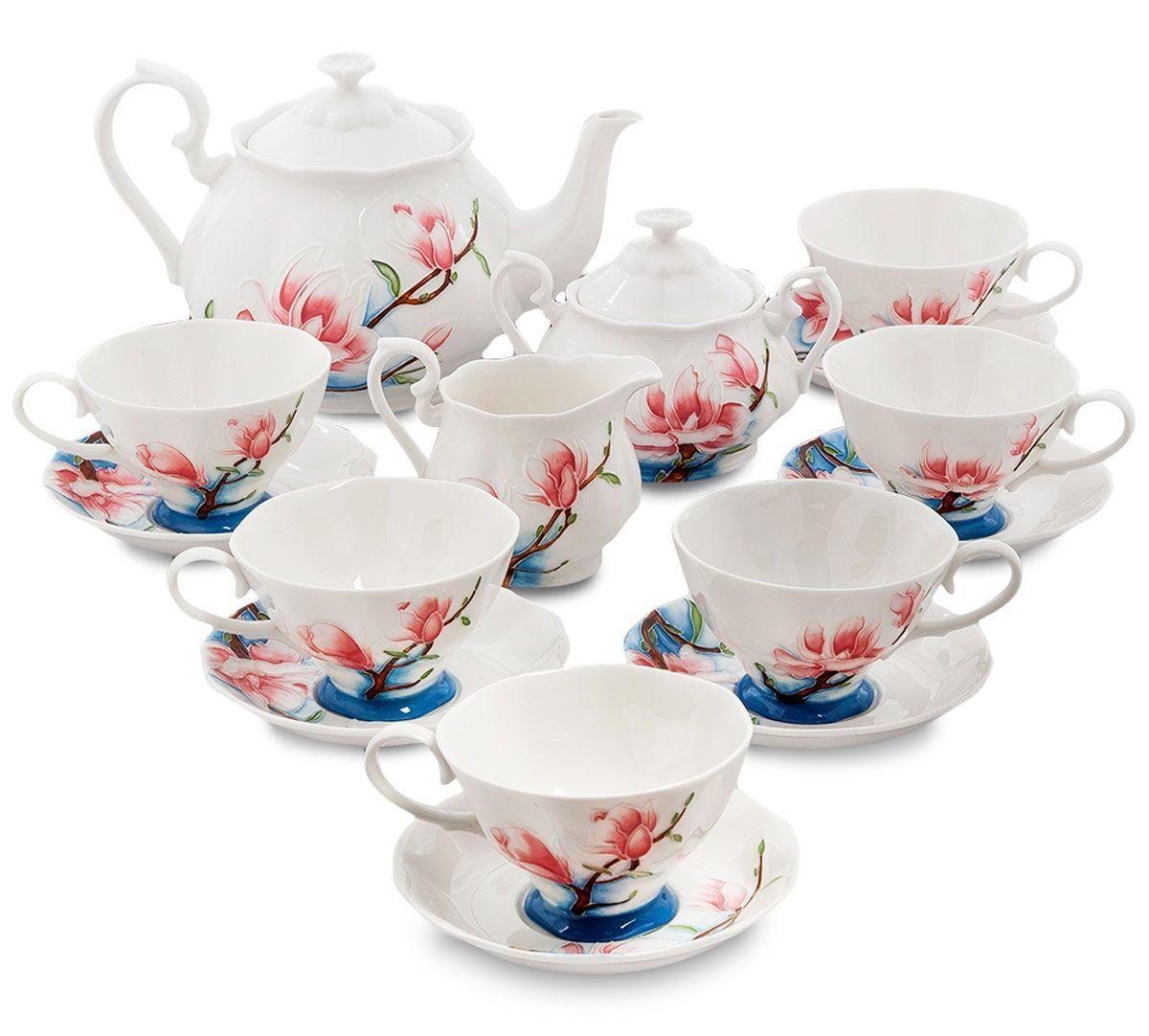 Сервиз чайный Pavone Цветущая сакура, 15 предметов. 451572FS-91909Объем чайника: 1,25 лОбъем сахарницы: 400 мл Объем молочника: 250 мл Объем чашки: 200 млДиаметр блюдца: 14 см.