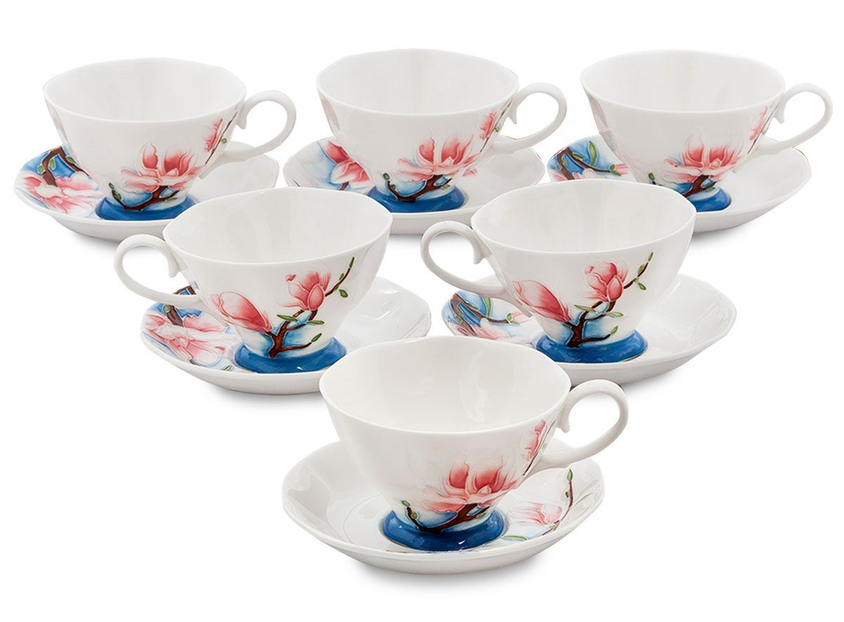 Набор чайный Pavone Цветущая сакура, 6 предметов. 451574VT-1520(SR)Объем чашки: 200 млДиаметр блюдца: 14 см.