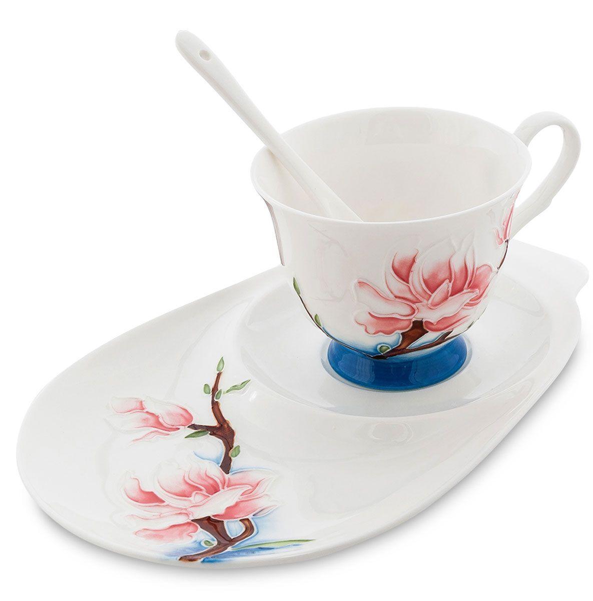 Набор чайный Pavone Цветущая сакура, 3 предмета54 009312Чайный набор Pavone Иволга и орхидея изготовлен из высококачественного фарфора. Набор состоит из чашки, блюдца и чайной ложки. Изделия имеют необычный дизайн, который придется по вкусу ценителям классики и тем кто предпочитает современный стиль. Изящный набор эффектно украсит стол к чаепитию и порадует вас функциональностью и ярким дизайном.Объем кружки: 250 мл.Длина блюдца: 23 см.