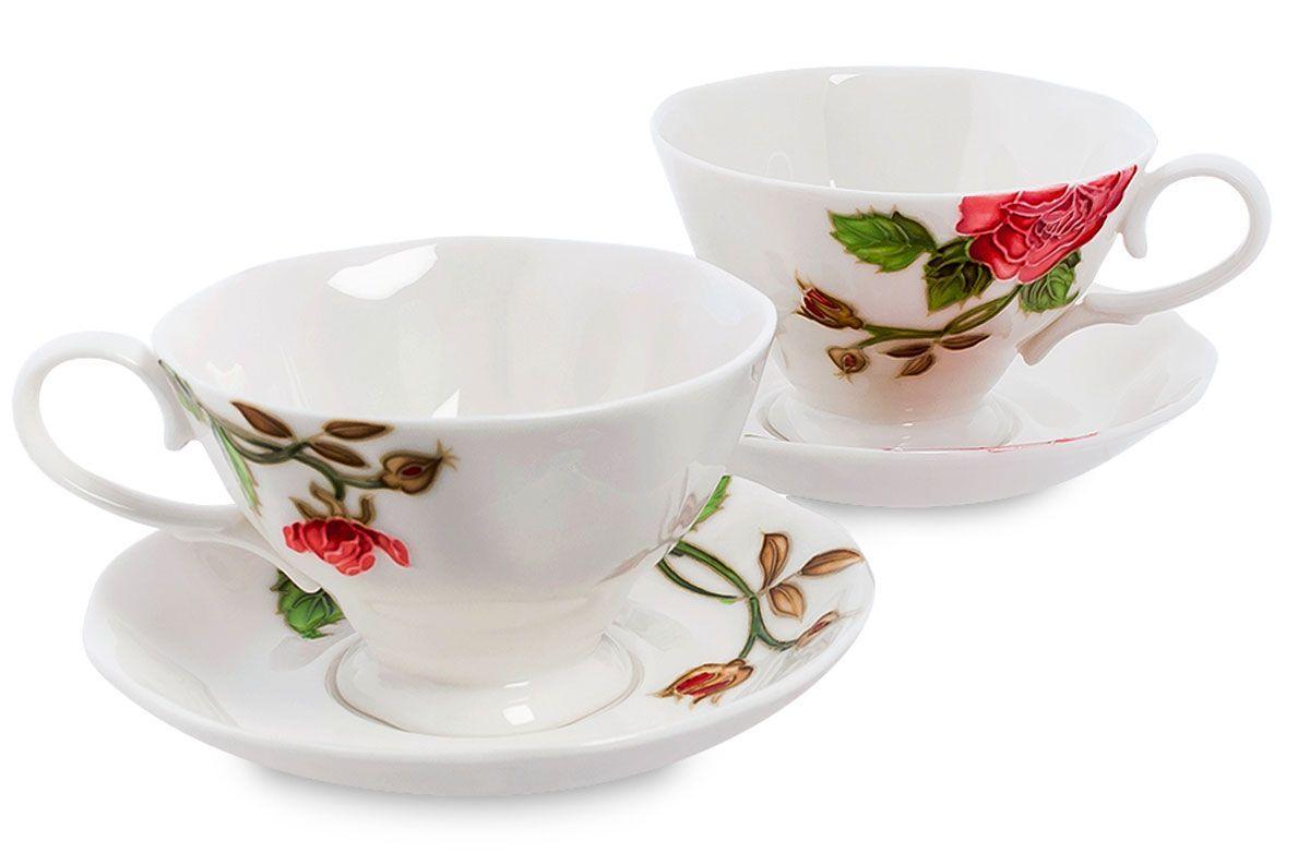 Набор чайный Pavone Рафаэлло. Роза, 4 предмета. 451579VT-1520(SR)Объем чашки: 200 млДиаметр блюдца: 14 см.