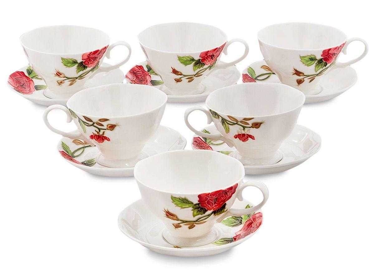Набор чайный Pavone Рафаэлло. Роза, 6 предметов. 451580115510Объем чашки: 200 млДиаметр блюдца: 14 см.
