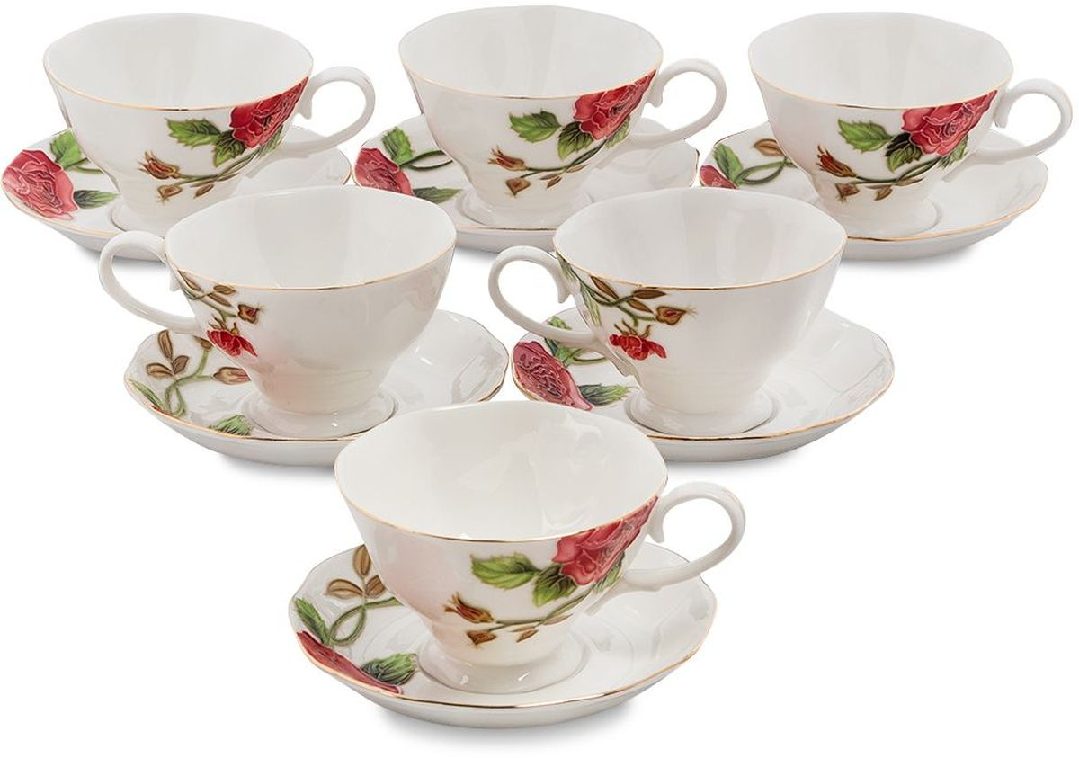 Набор чайный Pavone Золотая Роза, 6 предметов. 451586VT-1520(SR)Объем чашки: 200 млДиаметр блюдца: 14 см.