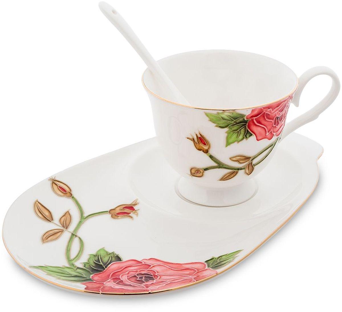 Чайная пара Pavone Золотая Роза, 3 предмета. 451588115510Объем чашки: 250 мл Длина блюдца: 23 см