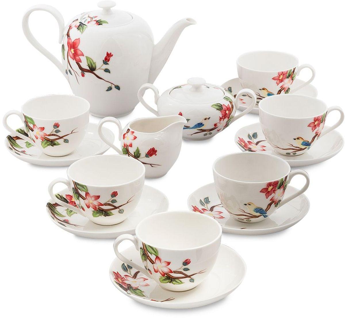 Сервиз чайный Pavone Райская птица, 15 предметов. 451595115510Объем чайника: 1,4 лОбъем сахарницы: 350 мл Объем молочника: 200 мл Объем чашки: 250 млДиаметр блюдца: 15 см.