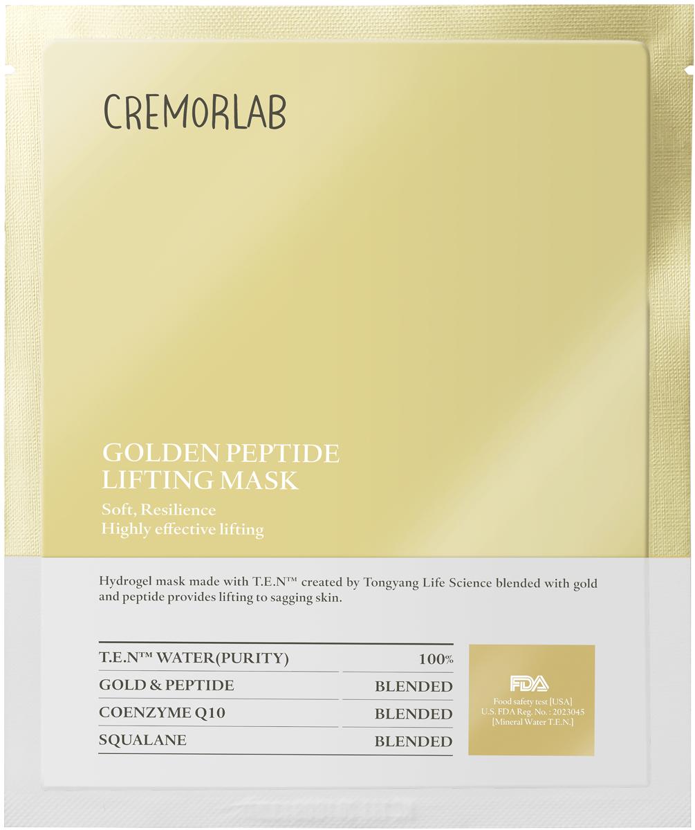 Cremorlab Gold Peptide Lifting Mask Лифтинг маска с золотом и пептидами 1 шт.72523WDГидрогелевая маска класса премиум способствует восстановлению эластичности кожи и обладает выраженным лифтинг-эффектом. Уникальный ингредиентный комплекс, состоящий из термальной воды, пептидных белков, биологически активного золота, фитосквалана и коэнзима Q10, способствует проникновению активных веществ маски в глубокие слои кожи, пролонгированному увлажнению. Защищает от негативного воздействия окружающей среды и чрезмерного испарения влаги. Питает, стимулирует выработку коллагена, уменьшает глубину морщин, повышает иммунитет, улучшает упругость и тургор, положительно влияет на функциональное состояние кожи, возвращает жизненную энергию уставшей и блеклой коже. Не содержит парабенов, бензофенона, минеральных масел и искусственных красителей. Подходит для всех типов и состояний кожи.