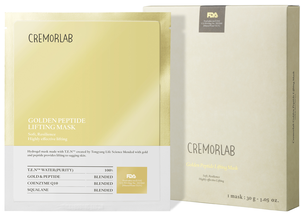 Cremorlab Gold Peptide Lifting Mask Лифтинг маска с золотом и пептидами61461Гидрогелевая маска класса премиум способствует восстановлению эластичности кожи и обладает выраженным лифтинг-эффектом. Уникальный ингредиентный комплекс, состоящий из термальной воды, пептидных белков, биологически активного золота, фитосквалана и коэнзима Q10, способствует проникновению активных веществ маски в глубокие слои кожи, пролонгированному увлажнению. Защищает от негативного воздействия окружающей среды и чрезмерного испарения влаги. Питает, стимулирует выработку коллагена, уменьшает глубину морщин, повышает иммунитет, улучшает упругость и тургор, положительно влияет на функциональное состояние кожи, возвращает жизненную энергию уставшей и блеклой коже. Не содержит парабенов, бензофенона, минеральных масел и искусственных красителей. Подходит для всех типов и состояний кожи.