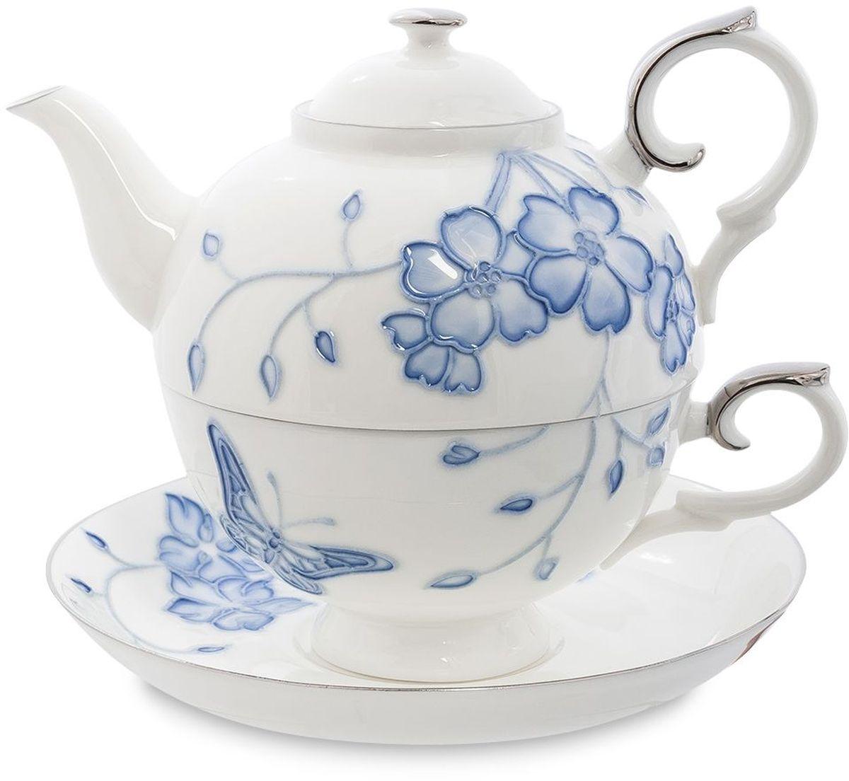 Набор чайный Pavone Голубая бабочка, 3 предмета. 451604115510Объем чайника: 400 млОбъем чаши: 250 млДиаметр блюдца: 15 см