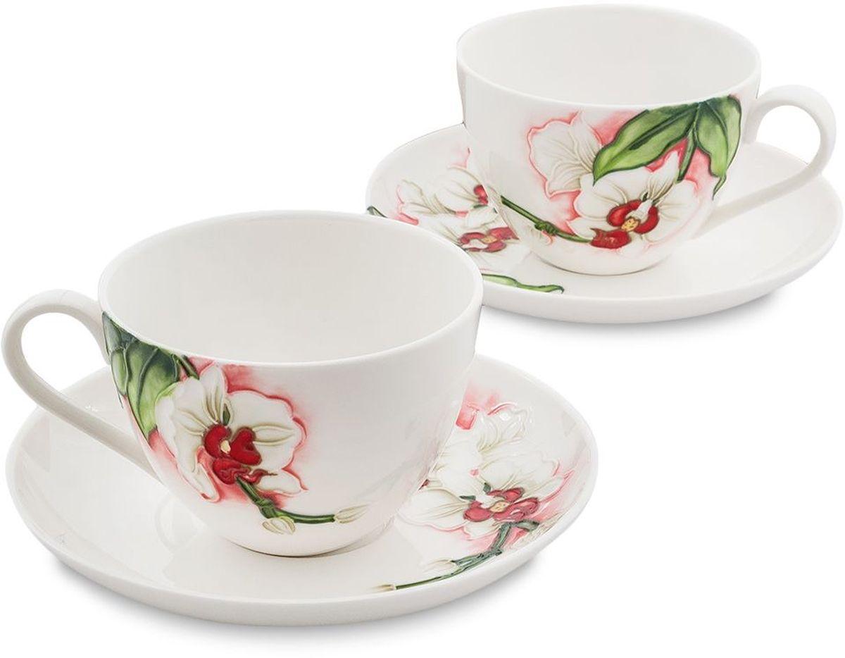 Набор чайный Pavone Королевская орхидея, 4 предмета. 451608VT-1520(SR)Объем чашки: 200 млДиаметр блюдца: 15 см.