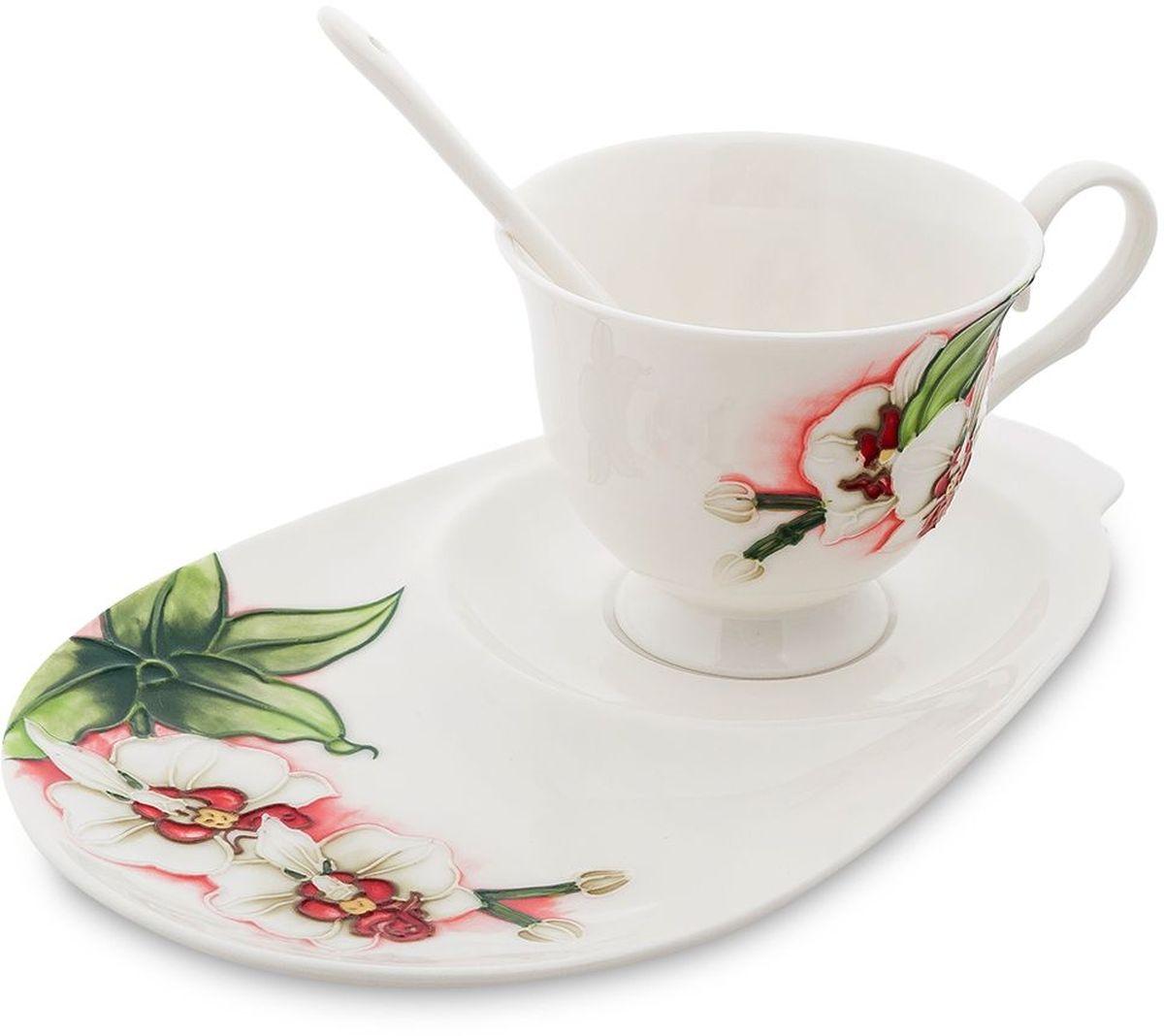 Чайная пара Pavone Королевская орхидея, 3 предмета. 45161254 009312Объем чашки: 250 мл Длина блюдца: 23 см