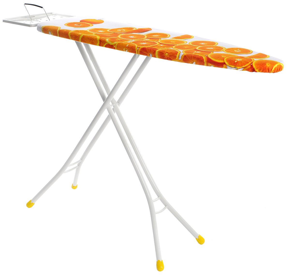 Доска гладильная Gimi Classic. Апельсины, 110 х 33 см14100350_оранжевый, белыйСкладная гладильная доска Gimi Classic. Апельсины - необходимая вещь для каждой хозяйки. Благодаря такой удобной доске процесс глажки будет комфортным и качественным.Корпус выполнен из высококачественной стали и обтянут чехлом из прочного хлопка.Большая поверхность позволит вам без труда гладить не только рубашки, мужские брюки, но и постельное белье. Прочные стальные окрашенные ножки снабжены пластиковыми вставками, которые предотвращают скольжение, что создает удобные условия для глажки, а также препятствуют образованию царапин на полу. Также изделие оснащено подставкой для утюга. Доска легко складывается и не занимает много места в сложенном состоянии. Такая гладильная доска сочетает в себе качество, удобство, легкость и практичность.Размер гладильной поверхности: 110 x 33 см. Максимальная высота: 90 см. Размер подставки для утюга: 29 x 22 см. Размер гладильной доски в сложенном виде: 143 х 34 х 5 см.УВАЖАЕМЫЕ КЛИЕНТЫ!Обращаем ваше внимание, что расцветка чехла может отличаться от представленного на фотографии. Товар поставляется в ассортименте. Поставка осуществляется в зависимости от наличия на складе.