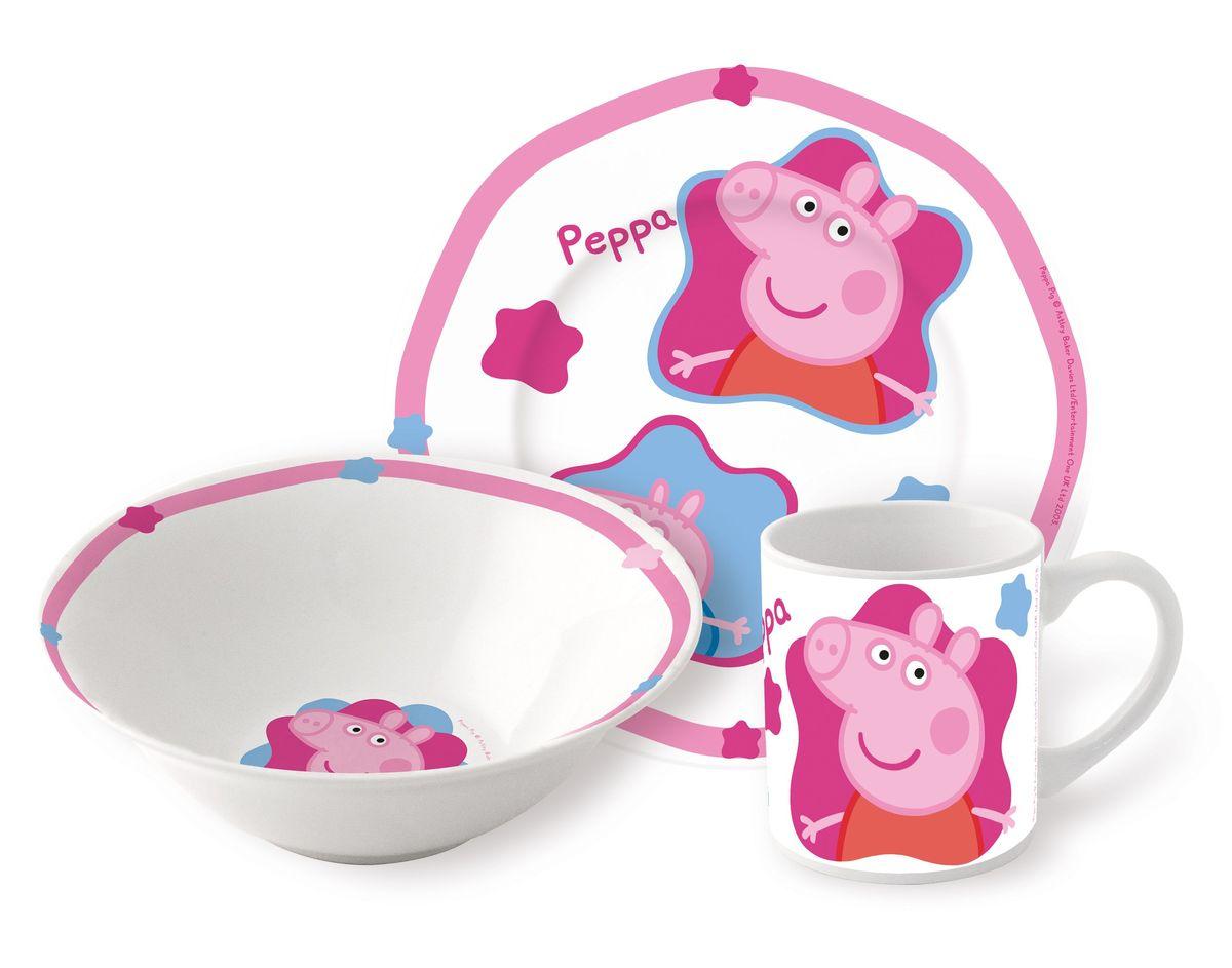 Stor Набор детской посуды Свинка Пеппа 3 предмета72765Оригинальная керамическая посуда Stor с изображением любимых героев – прекрасный подарок для детей и взрослых.
