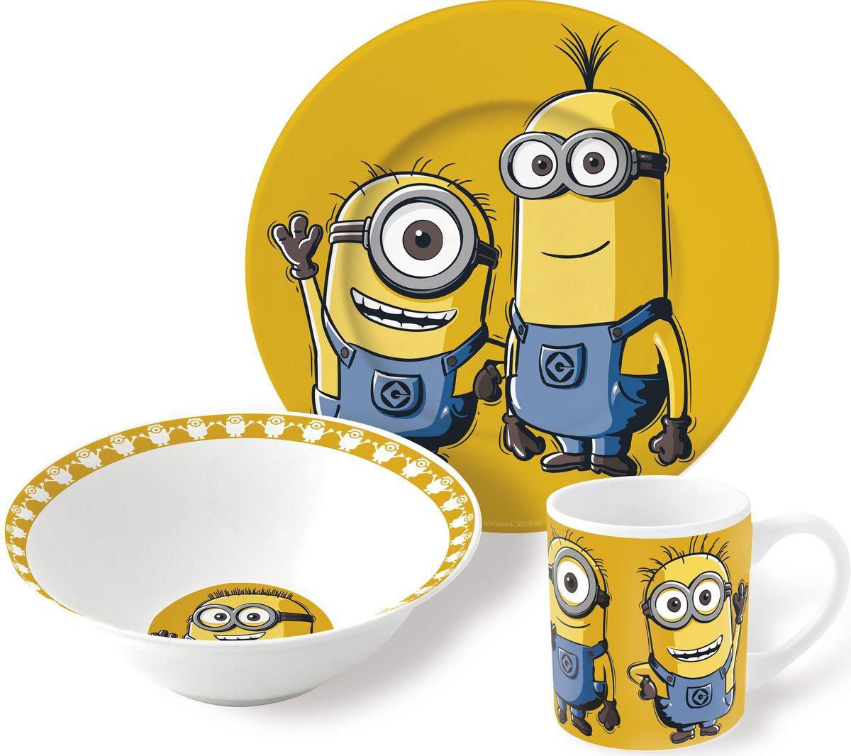 Stor Набор детской посуды Миньоны 3 предмета115510Набор детской посуды Stor Миньоны - оригинальная керамическая посуда с изображением любимых героев – прекрасный подарок для детей и взрослых.