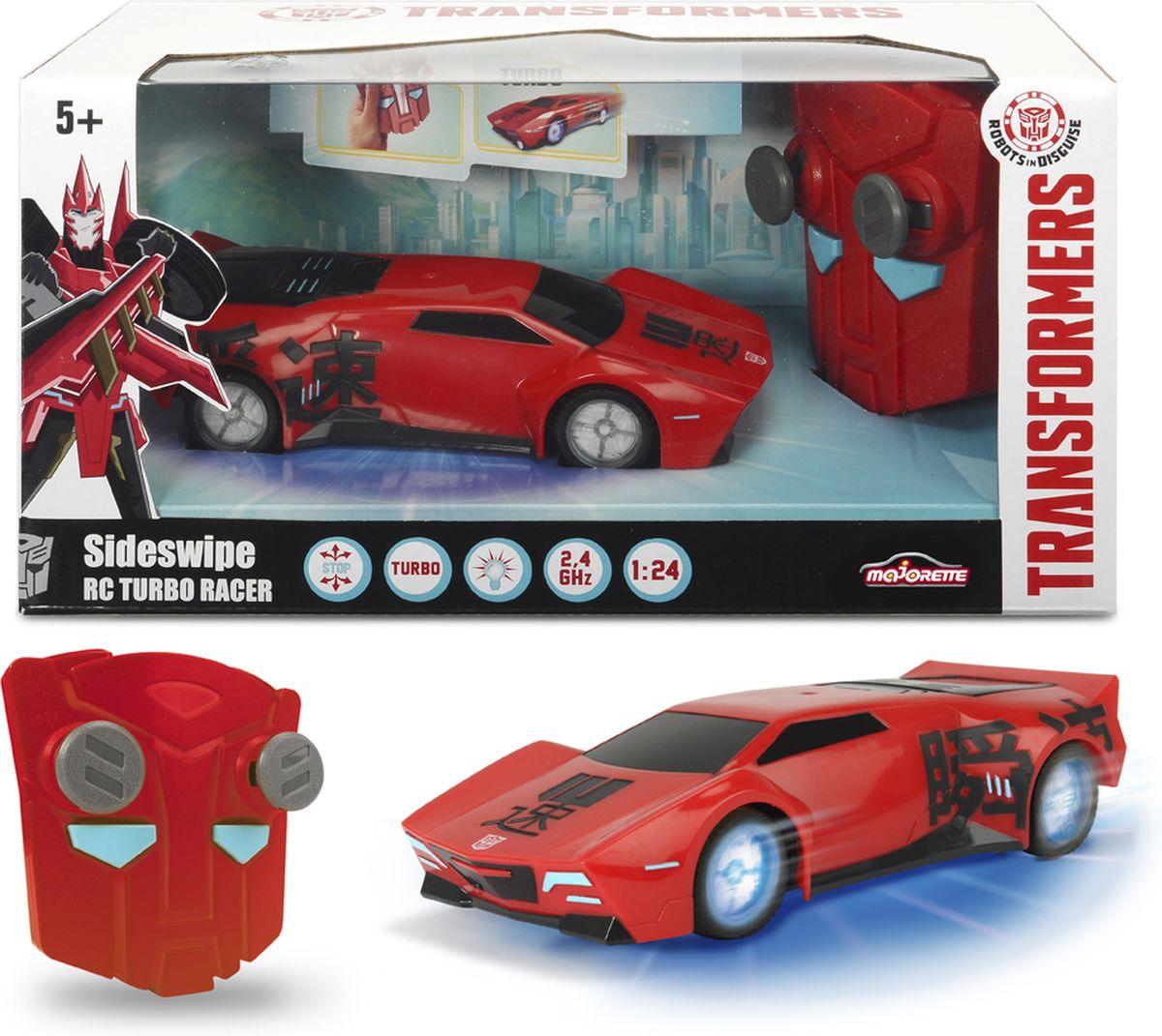 Машинка Sideswipe на радиоуправлении от Dickie! Полное управление (вперед-назад-налево-направо) + функция турбо. Невероятная неоновая подсветка снизу и светящиеся колесные диски. Гоняй с главным героем мультфильма Трансформеры Роботы под прикрытием (Transformers. Robots in Disguise) Размер 18см , 1:24. Для работы требуются батарейки: 3*ААА + 3 *АА (не входят в комплект) Рабочая частота: 2,4ГГц Максимальный коэффициент усиления антенны: 3 дБ Мощность: не более 10 мВт Разнос каналов: 50 кГц.
