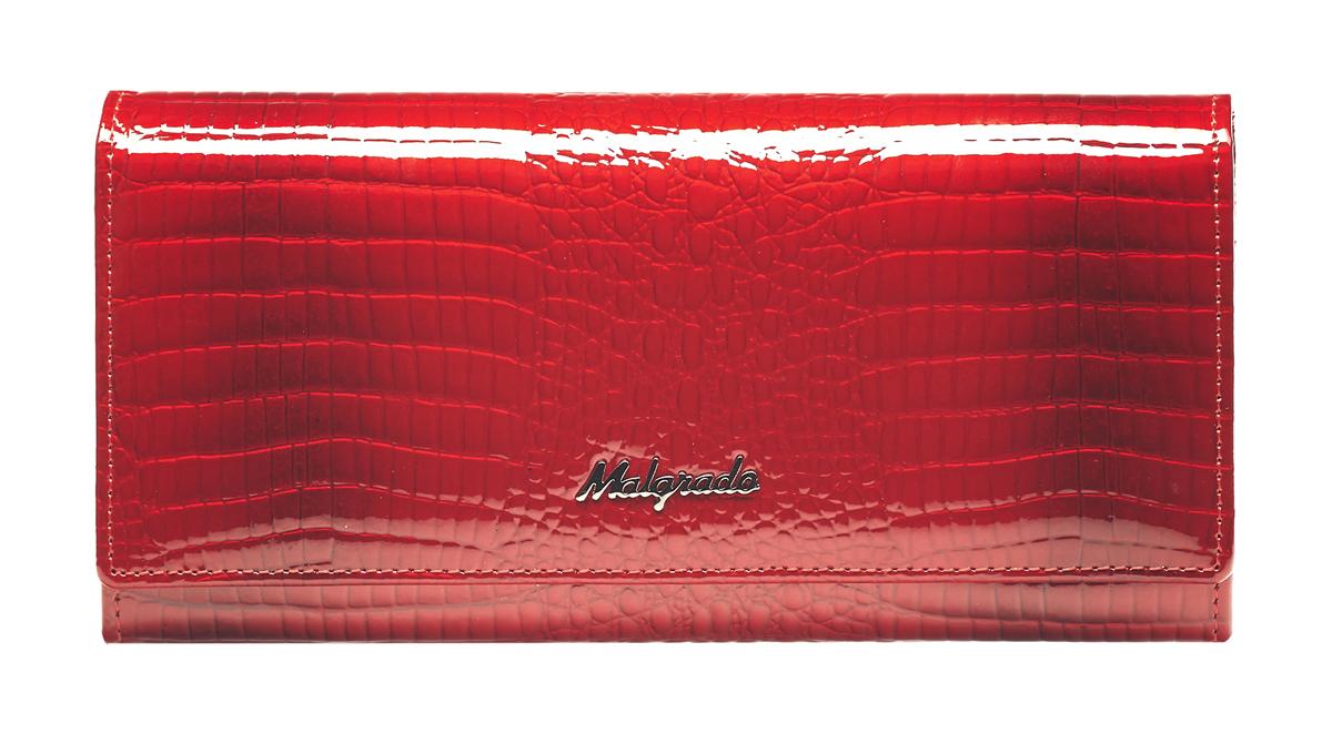Кошелек женский Malgrado, цвет: красный. 72032-3-44INT-06501Стильный кошелек Malgrado выполнен из натуральной лакированной кожи с декоративным тиснением под рептилию и оформлен металлическим элементом с логотипом бренда. . Изделие содержит два отделения. Первое отделение предназначено для монет, состоит из двух карманов и закрывается на рамочный замок. Второе отделение раскладывается, закрывается на клапан с кнопкой. Отделение включает в себя: девять кармашков для визиток или пластиковых карт, одно из которых для фотографии, один потайной карман для документов, четыре отделения для купюр, одно из них на молнии. Кошелек упакован в подарочную коробку с логотипом фирмы.Такой кошелек станет замечательным подарком человеку, ценящему качественные и практичные вещи.