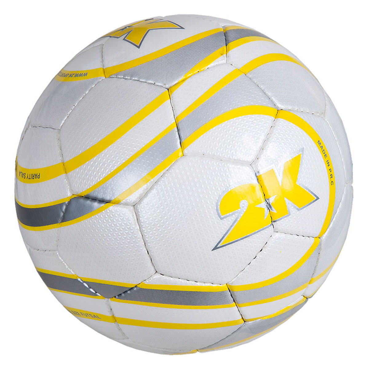 Мяч футзальный 2K Sport Parity, цвет: белый, желтый, серый. Размер 4200170Профессиональный футзальный мяч 2K Sport Parity предназначен для игры в зале. Выполнен из полиуретана. Четырехслойная подложка, изготовленная из полиэстера. Мяч имеет бесшовную бутиловую камеру с бутиловым ниппелем. Ручная сшивка панелей.
