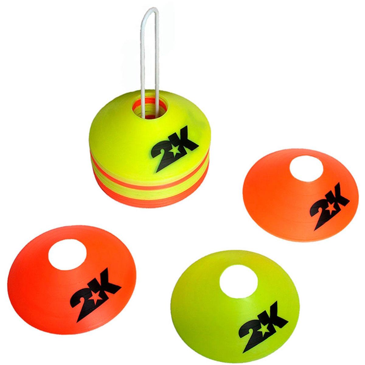 Комплект конусов 2K Sport, цвет: желтый, оранжевый, 40 шт230_604Комплект тренировочных конусов 2K Sport применяется для разметки на поле. Изделия выполнены из прочного пластика.В комплект входят сорок конусов двух цветов и подставка.