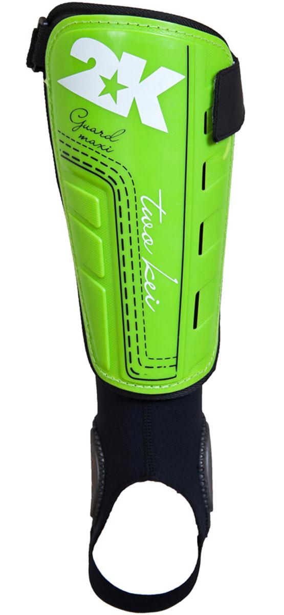 Щитки футбольные 2K Sport Guard Maxi, цвет: светло-зеленый, черный, белый. Размер L127325Футбольные щитки профессионального уровня 2K Sport Guard Maxi оснащены манжетой с специальными накладками для защиты голеностопа. Манжет крепится к основной части на липучке, таким образом вы можете использовать щиток и без него. Верх выполнен из высококачественного полипропилена. Щитки оснащены прочной передней панелью. Двухслойная текстильная подкладка с перфорациями обеспечивает лучшую вентиляцию. В верхней части щитка имеется затяжной ремешок для фиксации на ноге.