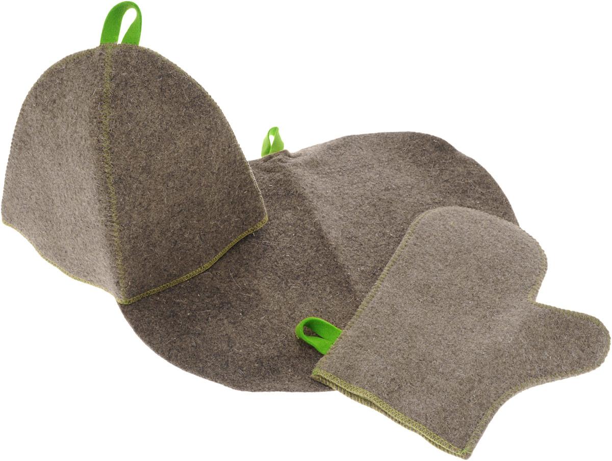Набор для бани и сауны Главбаня, цвет: серый, салатовый, 3 предмета. Б1516K100Подарочный набор для бани и сауны Главбаня состоит из шапки, рукавицы и коврика, изготовленных из шерсти и полиэфира. Коврик используется в качестве подстилки на пол или скамейки, он убережет вас от ожогов и воздействия на кожу высоких температур. Шапка - незаменимый атрибут в бане, она предотвращает сухость и ломкость волос, а также защищает от головокружения. Шапка и коврик декорированы объемной фигуркой в виде листочка. Все предметы набора имеют специальную петельку для подвешивания.Такой набор поможет с удовольствием и пользой провести время в бане, а также станет чудесным подарком друзьям и знакомым, которые по достоинству оценят его при первом же использовании.Размер коврика: 43 х 32 см.Обхват головы: 62 см.Высота шапки: 24 см.Размер рукавицы: 28 х 22,5 см.